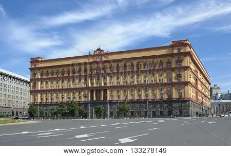 MOSCOW, RUSSIA - MAY 31, 2016: The main building of the Federal Security Service of Russia Bolshaya Lubyanka street home 1
