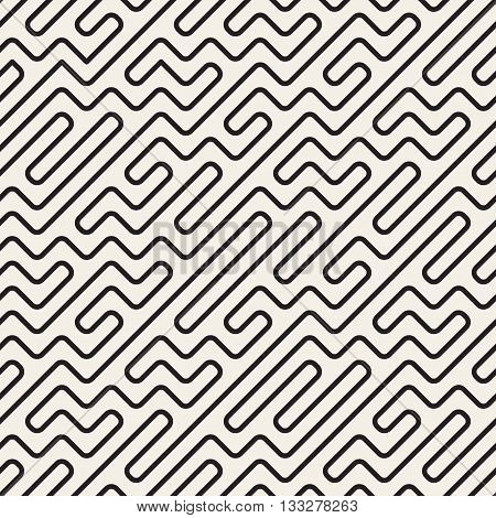 Vector Seamless Black And White Geometric Rounded Maze Lines Pattern. Abstract Geometric Background Design
