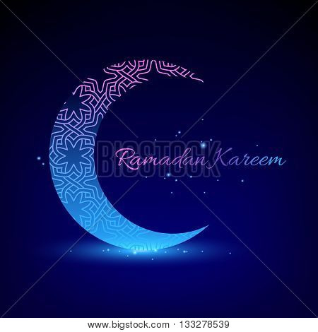 Ramadan kareem. Ramadan background design vector illustration. Ramadan greeting card poster flyer backdrop. Beautiful glow light moon with sparkles.