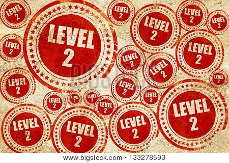 level 2, red stamp on a grunge paper texture