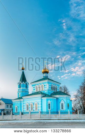 St. John the Korma convent church in Korma Village, Dobrush District, Belarus. Famous Orthodox Church.
