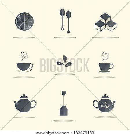 Tea flat icons, dark blue marks on light background, shadow. Lemon slices, tea leaves, sugar cubes, a couple cups, spoons, teapots, tea bag, vector