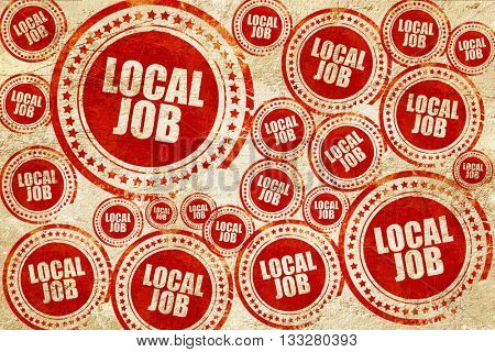 local job, red stamp on a grunge paper texture