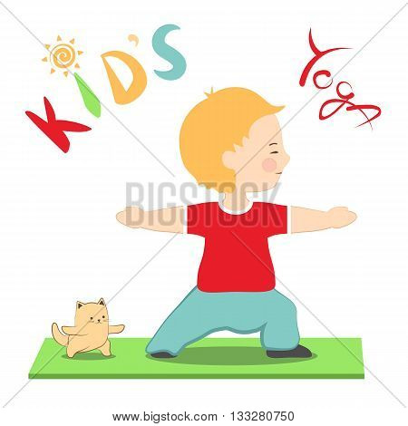 Vector illustration boy and his cat practicing yoga. Kid's yoga fun colorful poster. Cute little child and his kitten doing yoga together. Cartoon style warrior asana virabhadrasana for beginners.