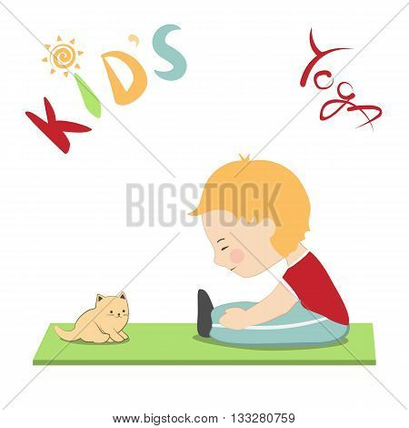 Vector illustration in cartoon style. Kid's yoga fun colorful poster. Child and his cat practicing yoga together doing yoga pose stretching. Cute little boy and his kitten.