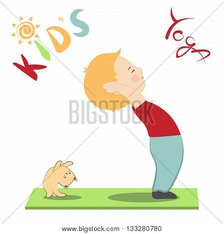 Vector illustration of cute boy and his cat doing yoga. Cartoon stylized children's yoga poster with kid and kitten. Child and kitten practicing yoga together.