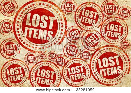lost items, red stamp on a grunge paper texture