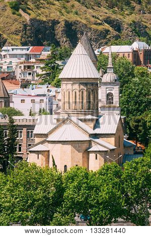 Tbilisi Sioni Cathedral, Georgia. Cathedral of Saint Mary of Zion. The Tbilisi Sioni Cathedral is situated in historic Sionis Kucha - Sioni Street in downtown Tbilisi