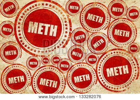 meth, red stamp on a grunge paper texture