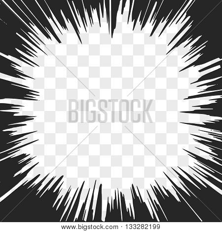 Comic Radial Speed Lines. Explosion with Speed Lines. Frame Design Element. Vector Illustration