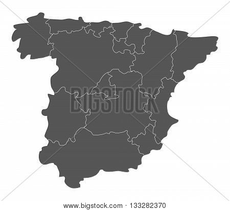 map of spain with regions illustrated on a white background