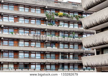 London, UK - June 3, 2016 - Brutalist architecture building in the Barbican Complex London