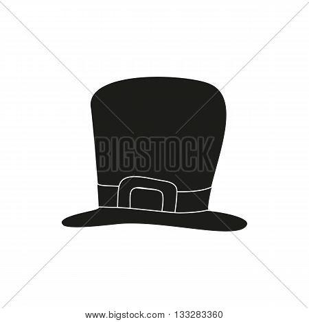 Simple black St. Patrick's Day hat on white background. Vector illustration