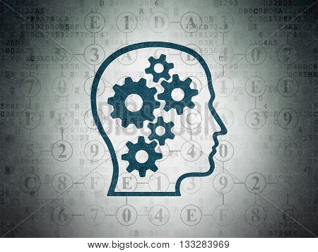 Information concept: Painted blue Head With Gears icon on Digital Data Paper background with Scheme Of Hexadecimal Code