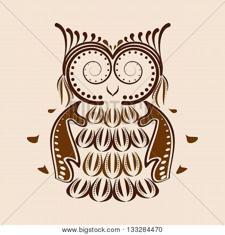 Vector illustration of an owl. Ethnic tribal stylized bird symbol of wisdom.
