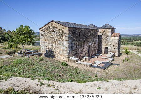 Visigothic church of Santa Lucia del Trampal Alcuescar Spain. Main nave view