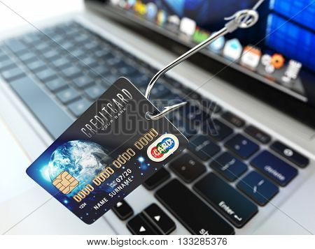 Credit card phishing concept. Hook with credit card and laptop computer keyboard. 3d illustration.