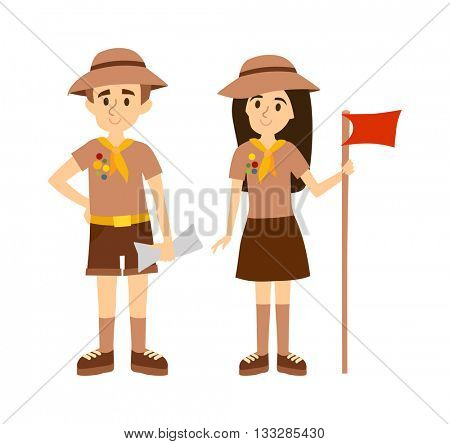 Scout people vector illustration.