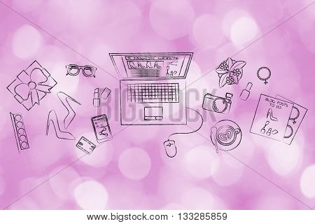 Fashion & Beauty Blogger Desk With Mixed Object And Laptop