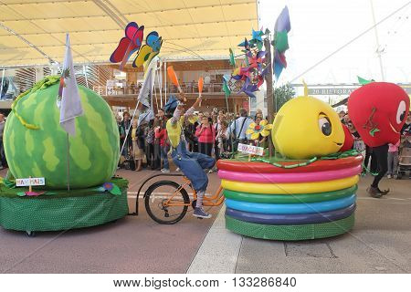 MILAN, ITALY - OCTOBER 12 2015: Foody daily Parade at Expo 2015 Universal exhibition on the theme of food held in Italy from May to October 2015