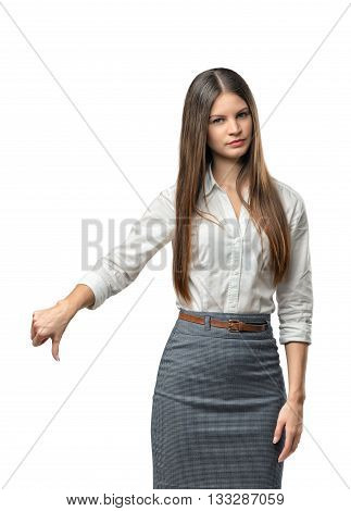 Businesswoman showing thumbs down. Hand gesture. Bad job. Symbols and gestures. Expression of disapproval. Failure. Dislike.