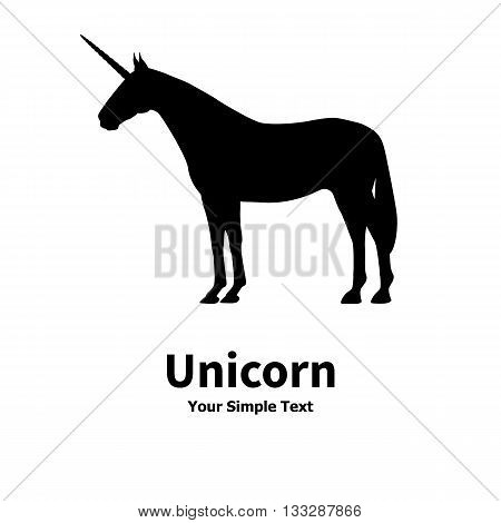 Vector illustration of a silhouette of a unicorn standing straight. On an isolated white background. Unicorn is a side view profile.