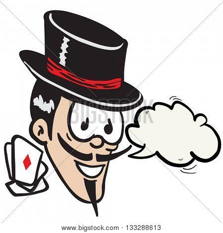 magician with speech bubble cartoon
