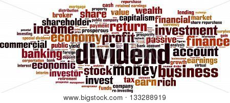 Dividend word cloud concept. Vector illustration on white