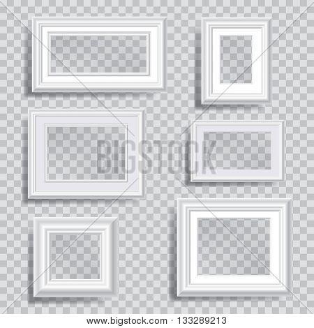 six vector white editable transparent frames