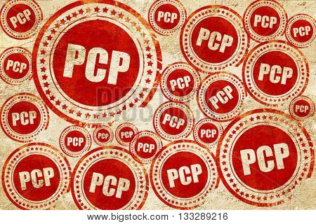 pcp, red stamp on a grunge paper texture
