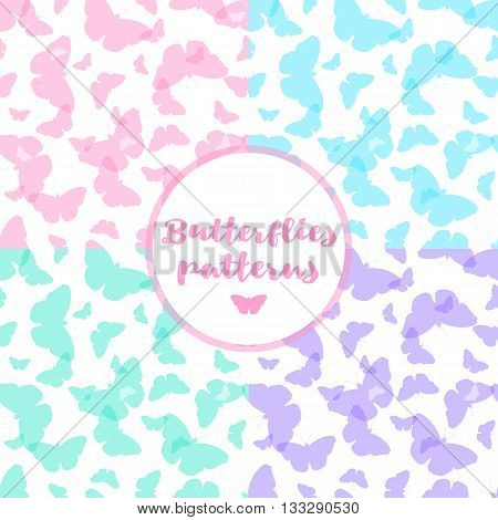 Set of seamless patterns with butterflies. Abstract background with butterflies. Vector illustration