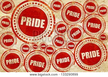 pride, red stamp on a grunge paper texture