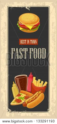 Fast food poster with vintage background. Set icon. Glass of cola hamburger pizza hotdog fries potato in red paper box bottles of ketchup and mustard. Vector flat illustration