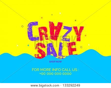 Creative Text Crazy Sale on yellow and blue background, Can be used as poster, banner or flyer design.