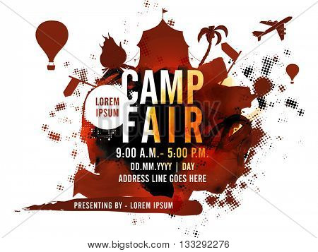 Camp Fair Poster, Summer Camp Banner or Flyer design with various creative elements on abstract background.