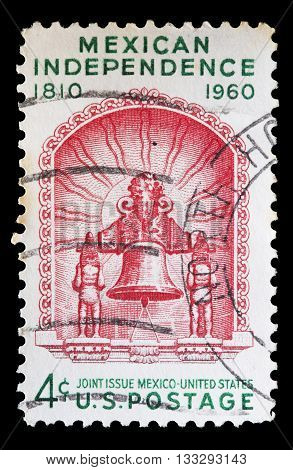 United States Used Postage Stamp Commemorating Mexican Independence