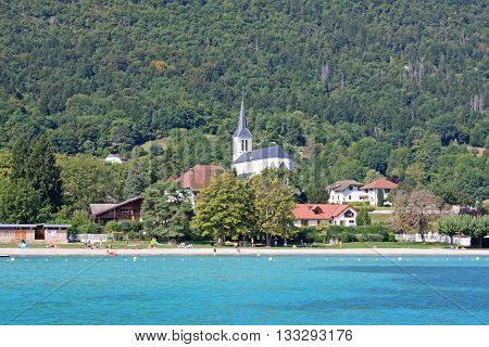 Church by the shore of Lake Annecy in France