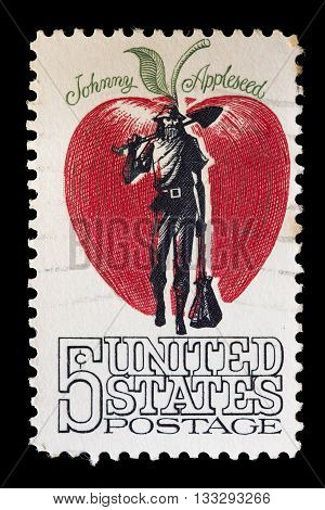 United States Used Postage Stamp Showing The Pioneer Johnny Appleseed