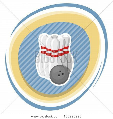 Bowling colorful icon. Vector illustration in cartoon style