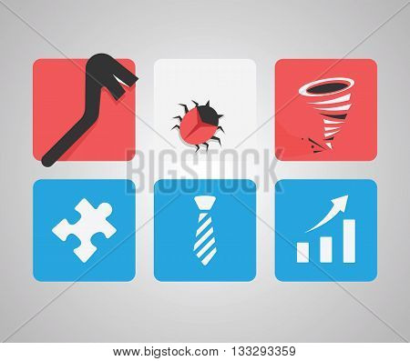 Information security. Set of vector icons on grey background