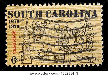 United States Used Postage Stamp Showing Symbols Of South Carolina