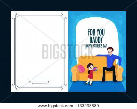 Elegant Greeting Card design with illustration of cute girl giving gift to her father for Happy Father's Day celebration.