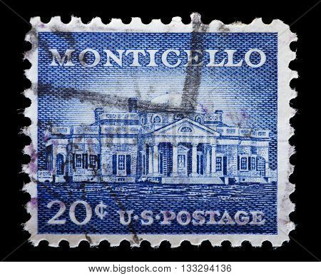 Usa Used Postage Stamp Showing Monticello, Thomas Jefferson Plantation
