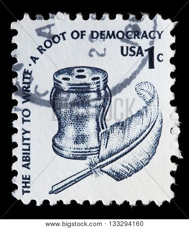 United States Used Postage Stamp Showing Quill Pen And Inkwell