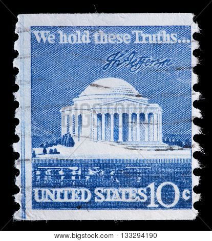United States Used Postage Stamp Showing The Jefferson Memorial