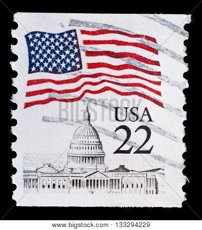 United States Used Postage Stamp Showing Flag On Capitol Washington