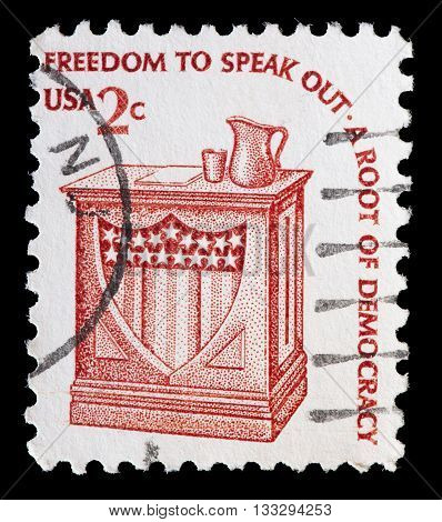 United States Used Postage Stamp Showing A Electoral Pulpit