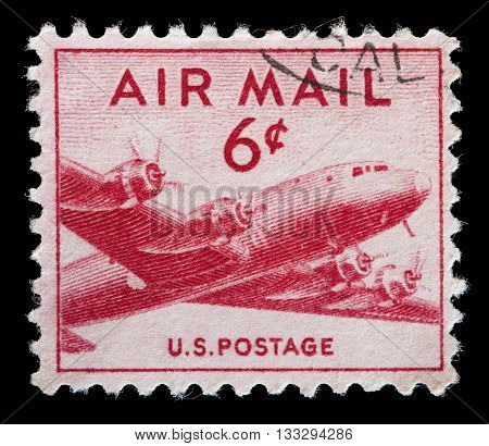 United States Used Postage Stamp Showing Dc-4 Skymaster Airplane