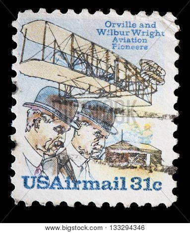 United States Used Postage Stamp Showing Aviation Pioneers Wright Brothers
