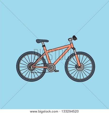 Mountain bike illustration in flat design style with strokes.
